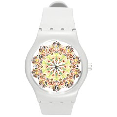 Intricate Flower Star Round Plastic Sport Watch (m) by Alisyart