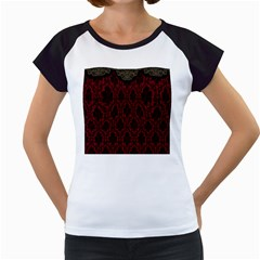 Elegant Black And Red Damask Antique Vintage Victorian Lace Style Women s Cap Sleeve T