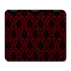 Elegant Black And Red Damask Antique Vintage Victorian Lace Style Large Mousepads