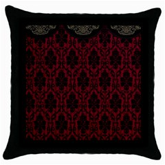 Elegant Black And Red Damask Antique Vintage Victorian Lace Style Throw Pillow Case (black)