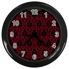 Elegant Black And Red Damask Antique Vintage Victorian Lace Style Wall Clocks (black)