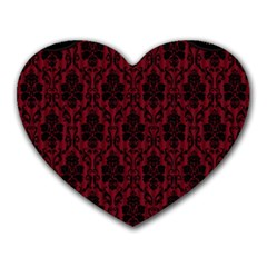 Elegant Black And Red Damask Antique Vintage Victorian Lace Style Heart Mousepads by yoursparklingshop