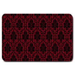 Elegant Black And Red Damask Antique Vintage Victorian Lace Style Large Doormat  by yoursparklingshop