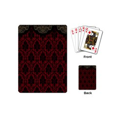Elegant Black And Red Damask Antique Vintage Victorian Lace Style Playing Cards (mini)