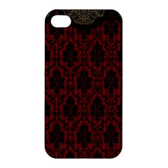 Elegant Black And Red Damask Antique Vintage Victorian Lace Style Apple Iphone 4/4s Hardshell Case