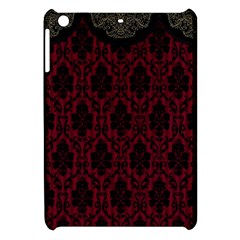 Elegant Black And Red Damask Antique Vintage Victorian Lace Style Apple Ipad Mini Hardshell Case by yoursparklingshop