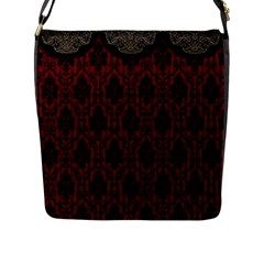Elegant Black And Red Damask Antique Vintage Victorian Lace Style Flap Messenger Bag (l)  by yoursparklingshop