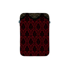 Elegant Black And Red Damask Antique Vintage Victorian Lace Style Apple Ipad Mini Protective Soft Cases by yoursparklingshop