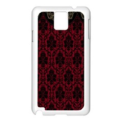Elegant Black And Red Damask Antique Vintage Victorian Lace Style Samsung Galaxy Note 3 N9005 Case (white)