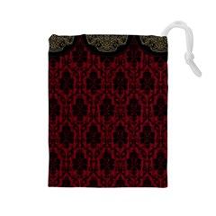 Elegant Black And Red Damask Antique Vintage Victorian Lace Style Drawstring Pouches (large)