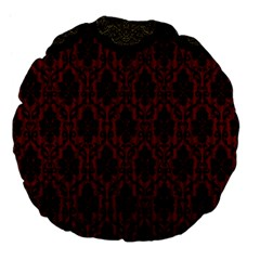Elegant Black And Red Damask Antique Vintage Victorian Lace Style Large 18  Premium Flano Round Cushions