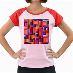 Abstract Background Geometry Blocks Women s Cap Sleeve T Shirt by Simbadda