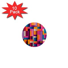 Abstract Background Geometry Blocks 1  Mini Magnet (10 Pack)  by Simbadda