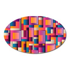 Abstract Background Geometry Blocks Oval Magnet by Simbadda