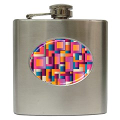 Abstract Background Geometry Blocks Hip Flask (6 Oz) by Simbadda