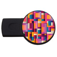 Abstract Background Geometry Blocks Usb Flash Drive Round (2 Gb) by Simbadda