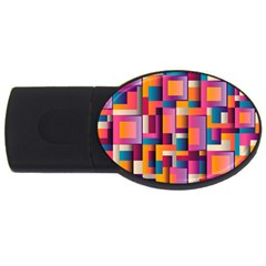 Abstract Background Geometry Blocks Usb Flash Drive Oval (2 Gb) by Simbadda