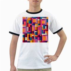Abstract Background Geometry Blocks Ringer T Shirts by Simbadda