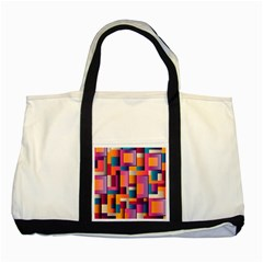 Abstract Background Geometry Blocks Two Tone Tote Bag by Simbadda