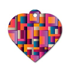 Abstract Background Geometry Blocks Dog Tag Heart (two Sides) by Simbadda