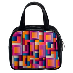 Abstract Background Geometry Blocks Classic Handbags (2 Sides) by Simbadda