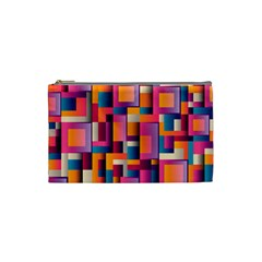 Abstract Background Geometry Blocks Cosmetic Bag (small)  by Simbadda