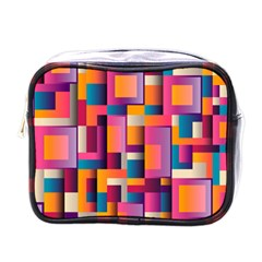 Abstract Background Geometry Blocks Mini Toiletries Bags by Simbadda
