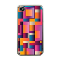 Abstract Background Geometry Blocks Apple Iphone 4 Case (clear) by Simbadda