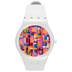 Abstract Background Geometry Blocks Round Plastic Sport Watch (m) by Simbadda
