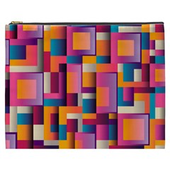 Abstract Background Geometry Blocks Cosmetic Bag (xxxl)  by Simbadda