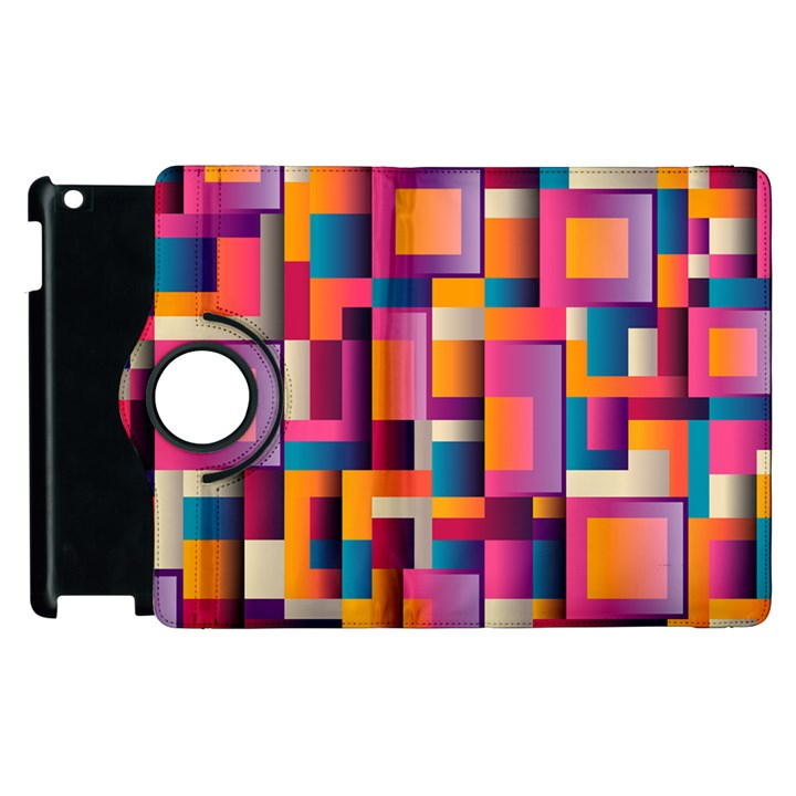 Abstract Background Geometry Blocks Apple iPad 2 Flip 360 Case
