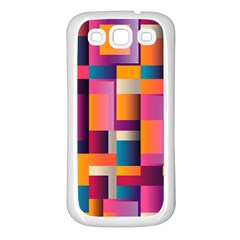 Abstract Background Geometry Blocks Samsung Galaxy S3 Back Case (white) by Simbadda