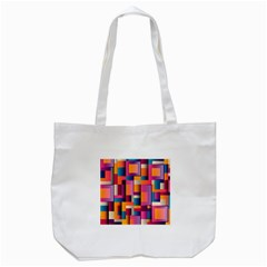 Abstract Background Geometry Blocks Tote Bag (white) by Simbadda