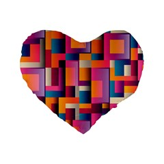 Abstract Background Geometry Blocks Standard 16  Premium Flano Heart Shape Cushions by Simbadda