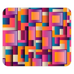 Abstract Background Geometry Blocks Double Sided Flano Blanket (small)  by Simbadda