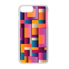 Abstract Background Geometry Blocks Apple Iphone 7 Plus White Seamless Case