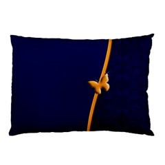 Greeting Card Invitation Blue Pillow Case by Simbadda