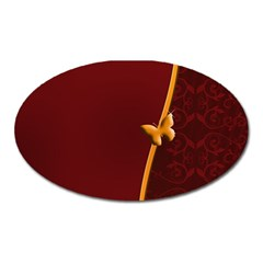 Greeting Card Invitation Red Oval Magnet by Simbadda
