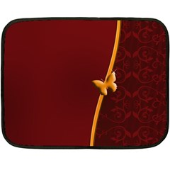 Greeting Card Invitation Red Fleece Blanket (mini) by Simbadda
