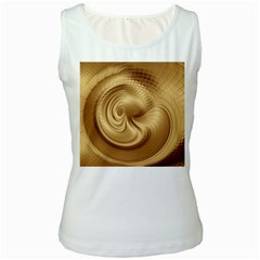 Gold Background Texture Pattern Women s White Tank Top by Simbadda