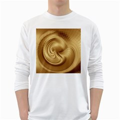 Gold Background Texture Pattern White Long Sleeve T Shirts by Simbadda