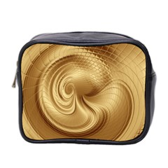 Gold Background Texture Pattern Mini Toiletries Bag 2 Side by Simbadda