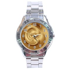 Gold Background Texture Pattern Stainless Steel Analogue Watch by Simbadda