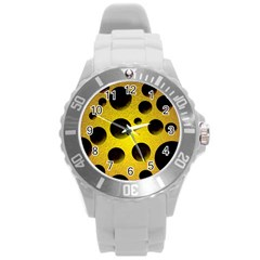 Background Design Random Balls Round Plastic Sport Watch (l) by Simbadda