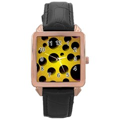 Background Design Random Balls Rose Gold Leather Watch  by Simbadda