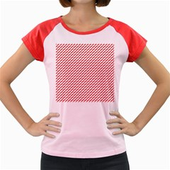 Pattern Red White Background Women s Cap Sleeve T Shirt by Simbadda