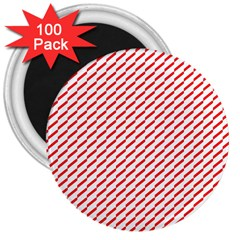 Pattern Red White Background 3  Magnets (100 Pack) by Simbadda