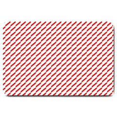 Pattern Red White Background Large Doormat  by Simbadda
