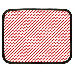 Pattern Red White Background Netbook Case (xl)  by Simbadda