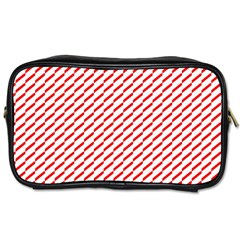 Pattern Red White Background Toiletries Bags 2 Side